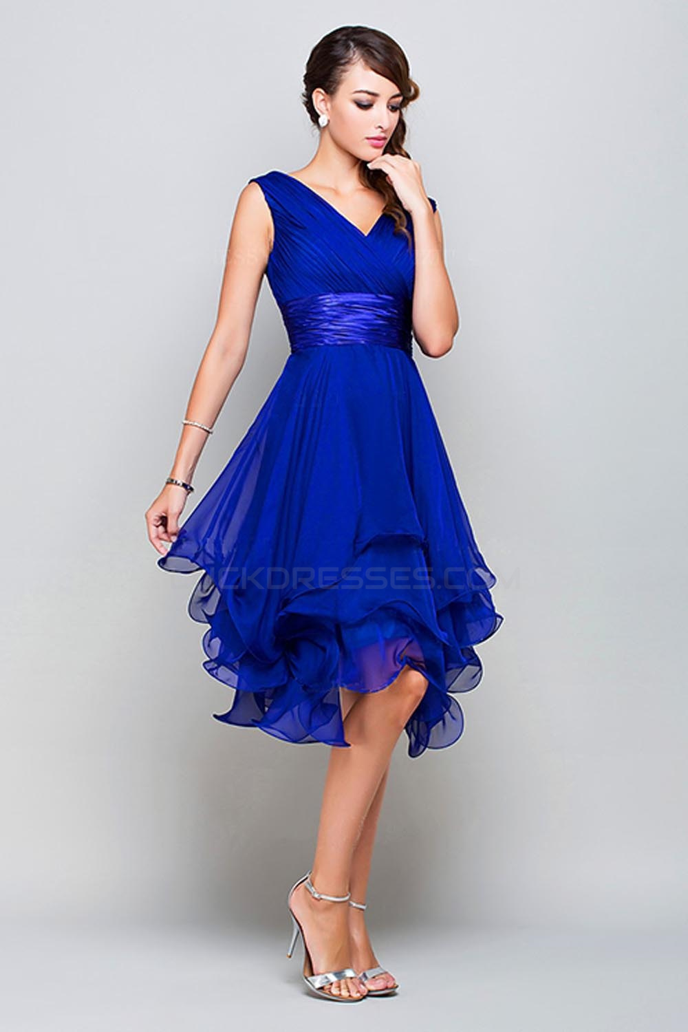 34f7f6e25070 A-Line Princess V-Neck Short Royal Blue Chiffon Prom Bridesmaid Party  Dresses ED010372