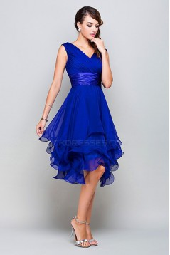 A-Line Princess V-Neck Short Royal Blue Chiffon Prom Bridesmaid Party Dresses ED010372