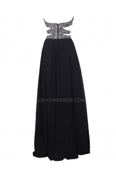 Long Black Beaded Chiffon Prom Evening Formal Party Dresses ED010375