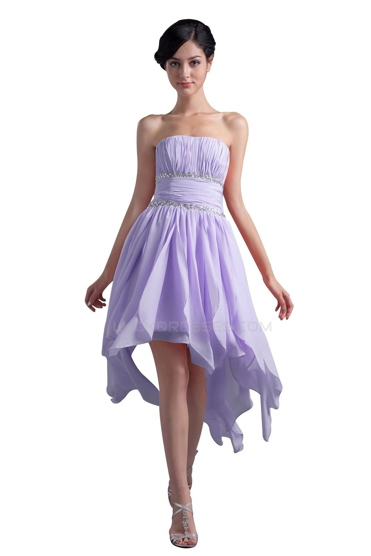 High Low Strapless Short Beaded Chiffon Prom Evening