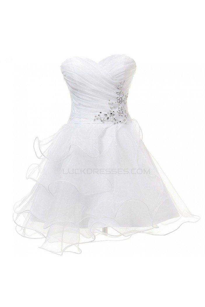 A-Line Sweetheart Beaded Short White Prom Evening Formal Party Dresses ED010400
