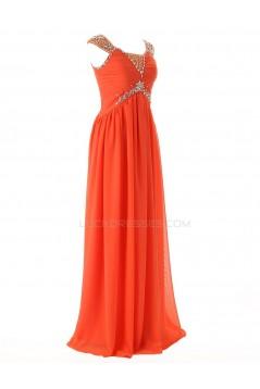 Sheath/Column Beaded Long Chiffon Prom Evening Formal Party Dresses ED010407
