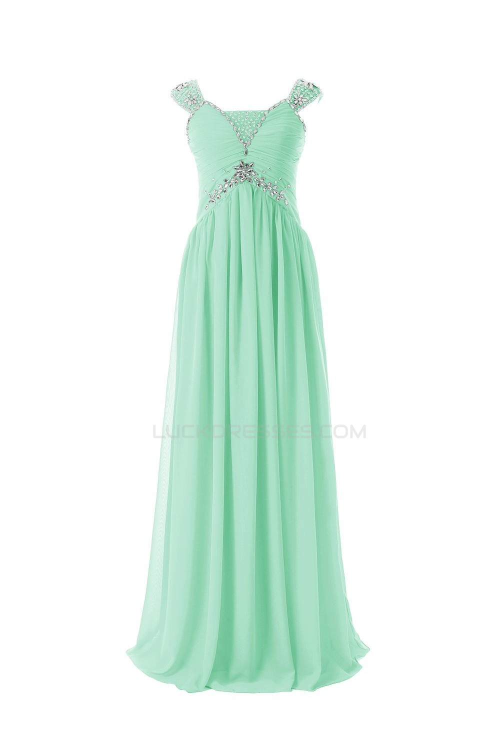 Column Beaded Long Mint Green Chiffon Prom Evening Formal Party ...