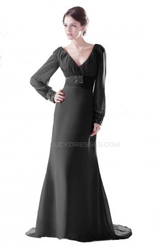Trumpet/Mermaid Long Beaded Chiffon Prom Evening Formal Party Dresses ED010423