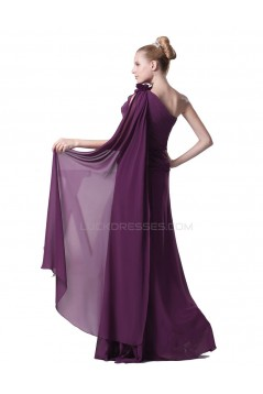 A-Line One-Shoulder Long Purple Chiffon Prom Evening Formal Party Dresses ED010429