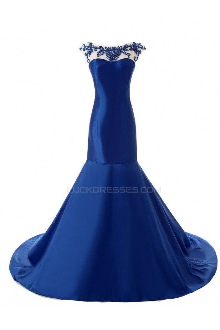 Trumpet Mermaid Beaded Long Blue Prom Evening Formal Party