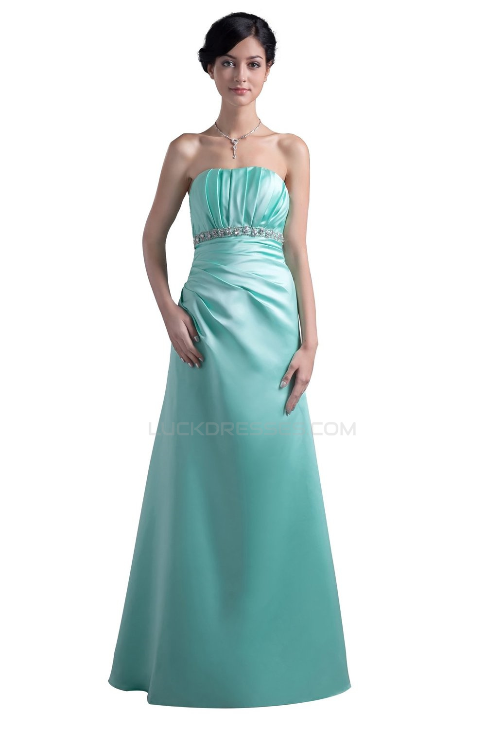 Line Strapless Long Blue Prom Evening Formal Party Dresses ED010474