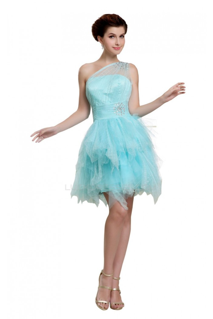 One-Shoulder Short Blue Prom Evening Formal Party Dresses ED010481