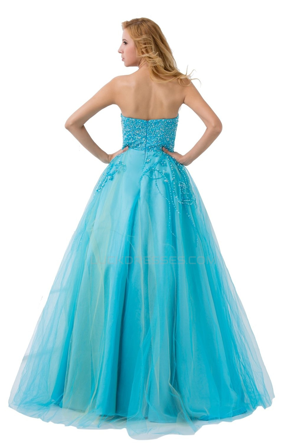Line Strapless Beaded Long Blue Prom Evening Formal Party Dresses ...