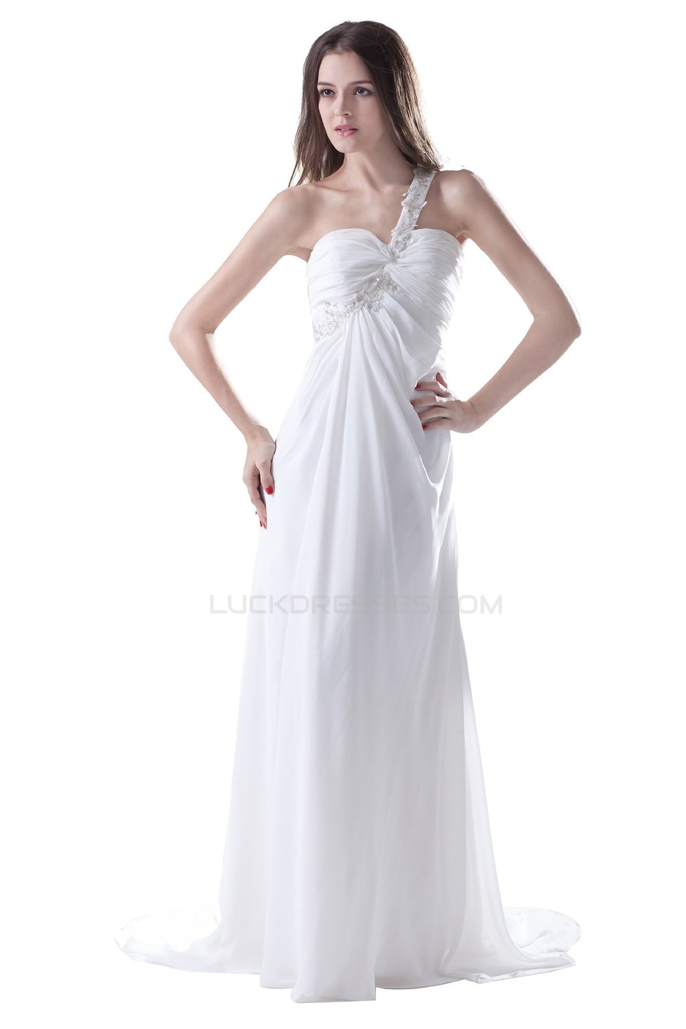4be0c45b56347 Empire One-Shoulder Long White Chiffon Prom Evening Formal Party Dresses/Maternity  Evening Dresses ED010508