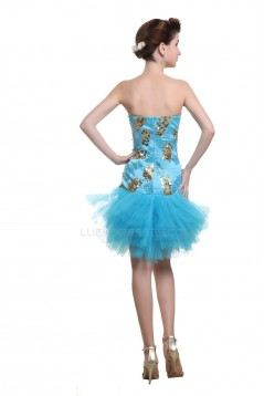 Short Strapless Blue Sequin Prom Evening Formal Party Dresses ED010511