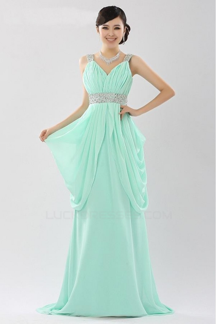 A-Line Beaded Long Chiffon Prom Evening Formal Party Dresses ED010525