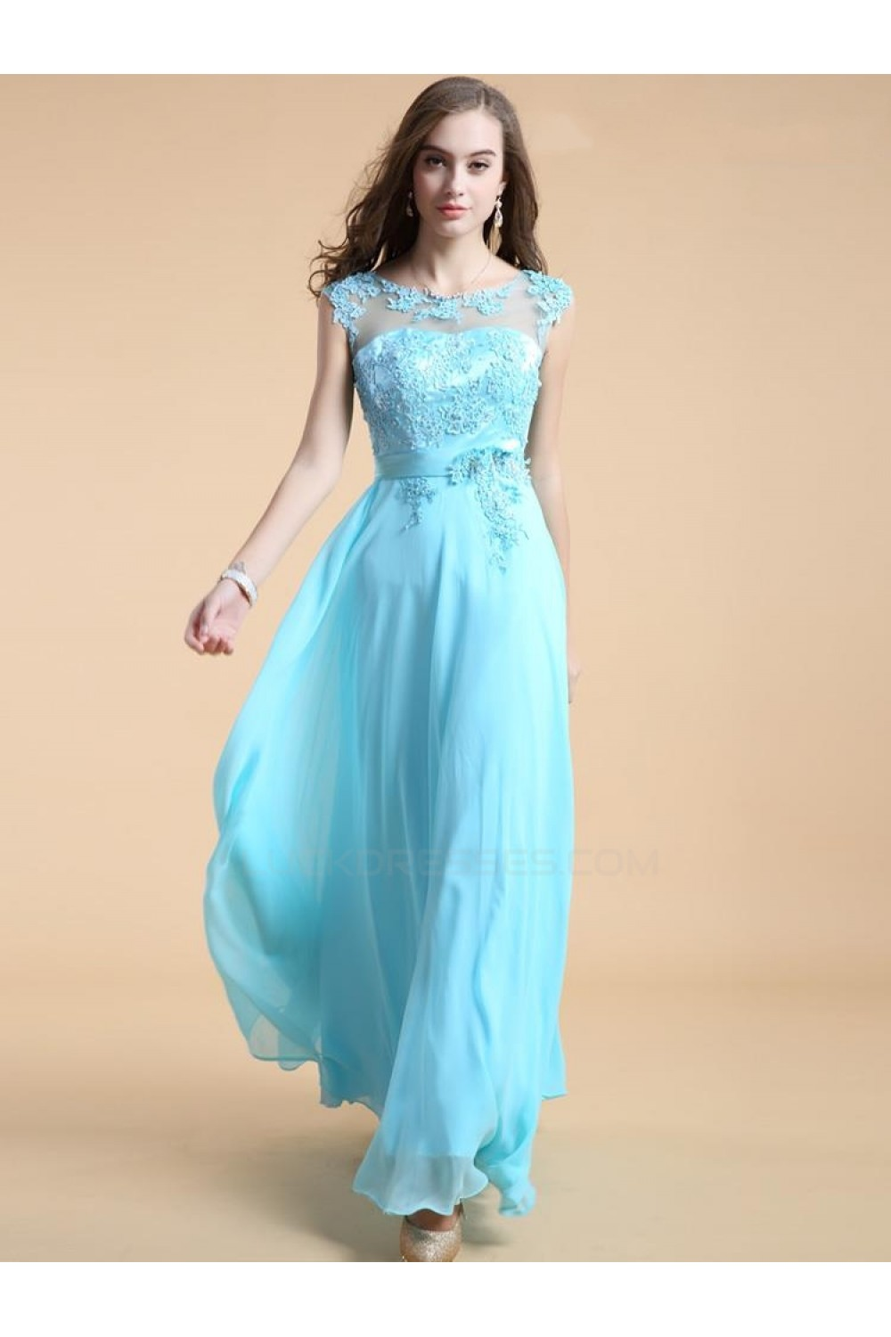 A-Line Long Blue Chiffon Prom Evening Formal Party Dresses ED010542