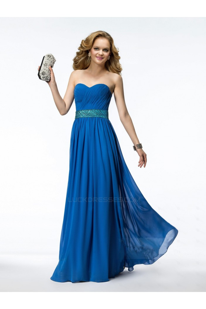 A-Line Sweetheart Beaded Long Blue Chiffon Prom Evening Formal Party Dresses ED010545