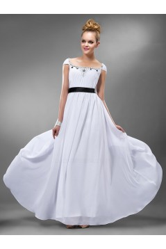 A-Line Cap Sleeve Beaded Long White Chiffon Prom Evening Formal Party Dresses ED010548