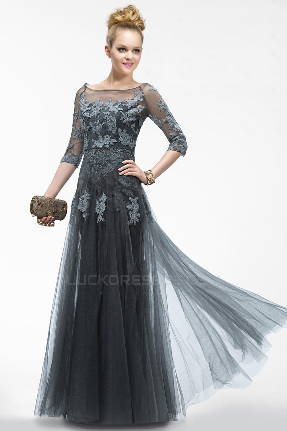 01f5ac23299 Elegant Long Tulle and Applique Prom Evening Formal Party Dresses ...