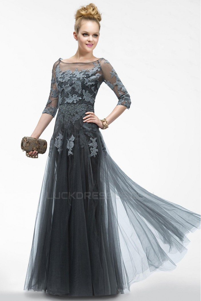 Elegant Long Tulle and Applique Prom Evening Formal Party Dresses/Mother Of The Bride Dresses ED010552