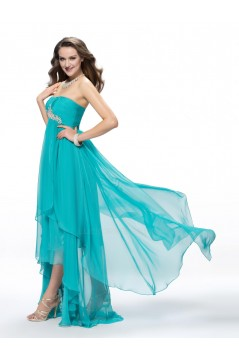 Empire High Low Strapless Beaded Long Blue Chiffon Prom Evening Formal Party Dresses/Maternity Evening Dresses ED010555