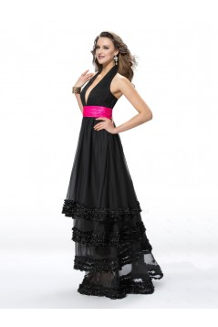 A-Line Halter Long Black Prom Evening Formal Party Dresses ED010562