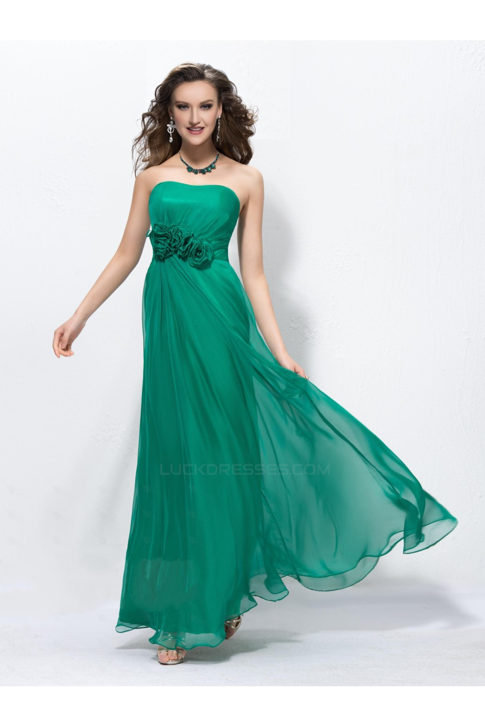 Column Strapless Long Green Chiffon Prom Evening Formal Party ...