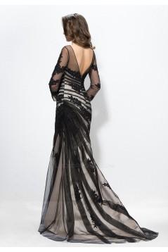 Vintage Appliques Trumpet Bateau Neck 3/4-Length Sleeves Long Prom Evening Formal Party Dresses ED010586