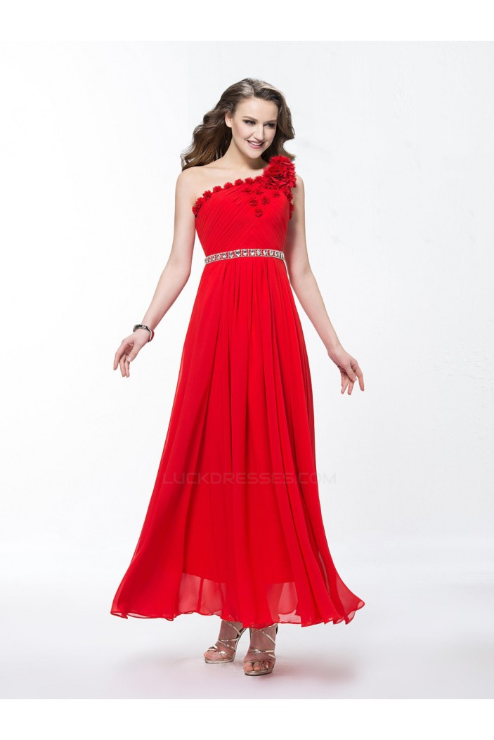 A-Line One-Shoulder Beaded Long Red Prom Evening Formal Party Dresses ED010599
