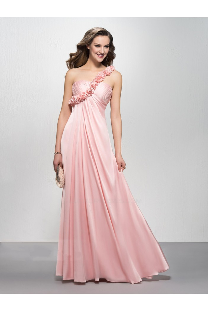 Empire One Shoulder Long Pink Prom Evening Formal Party
