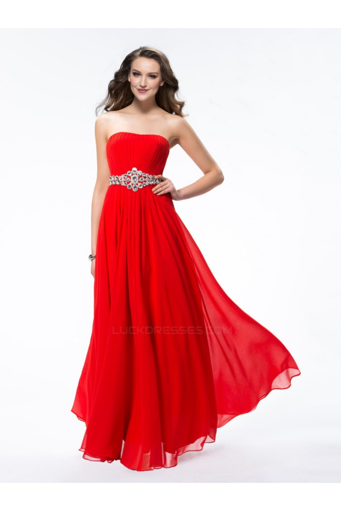 A-Line Strapless Beaded Long Red Chiffon Prom Evening Formal Party ...