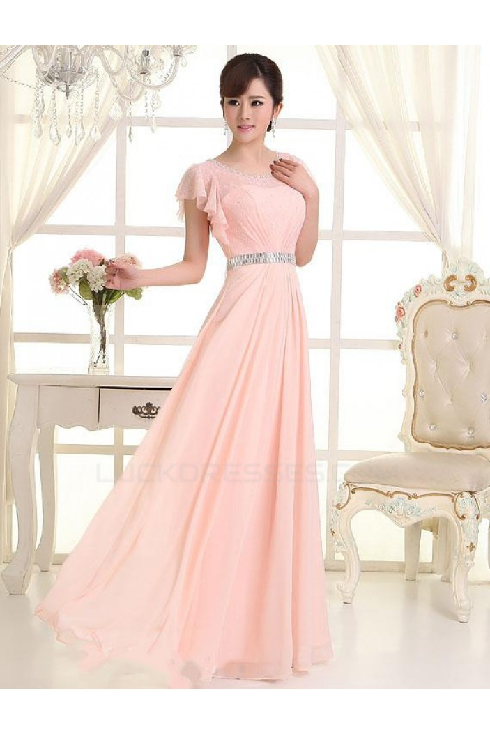 A-Line One-Shoulder Beaded Long Pink Lace and Chiffon Prom Evening Formal Party Dresses ED010621