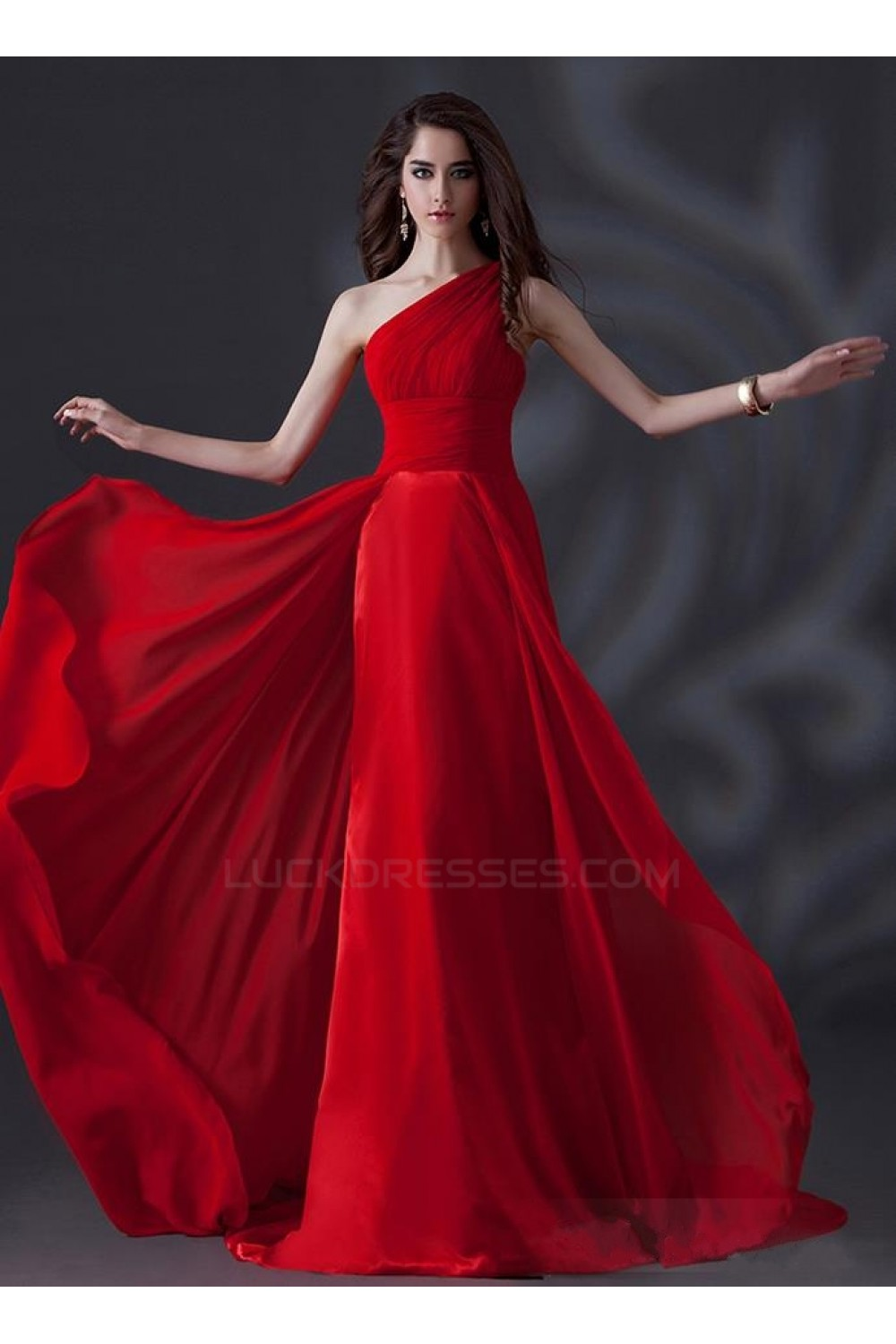 A-Line One-Shoulder Long Red Chiffon Prom Evening Formal Party ...