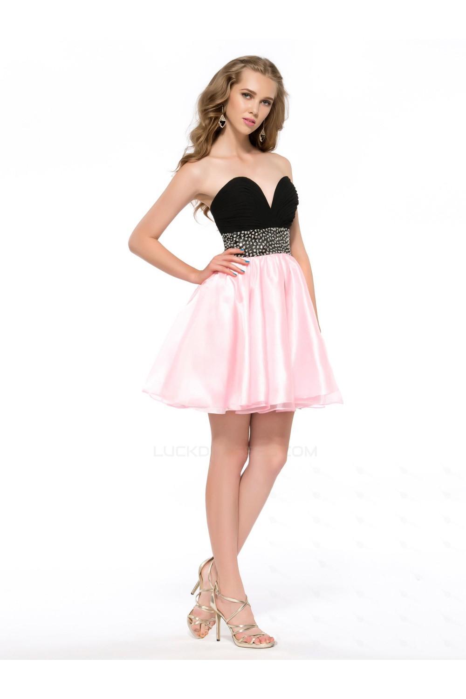 Black And Pink Short Dresses