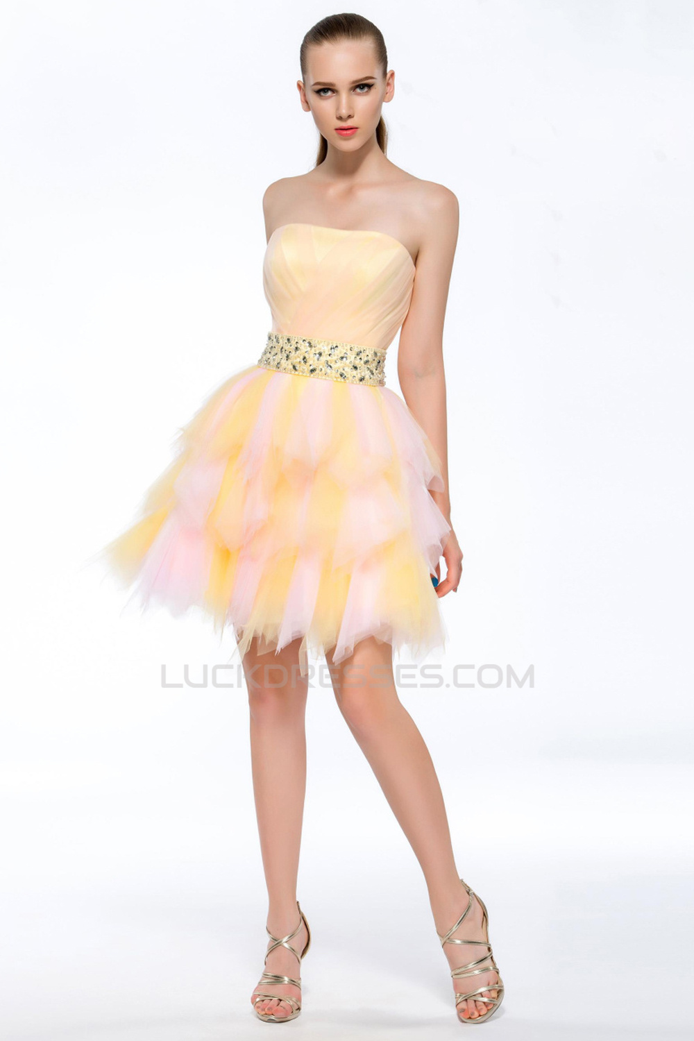 A Line Strapless Short Yellow Beaded Prom Evening Cocktail
