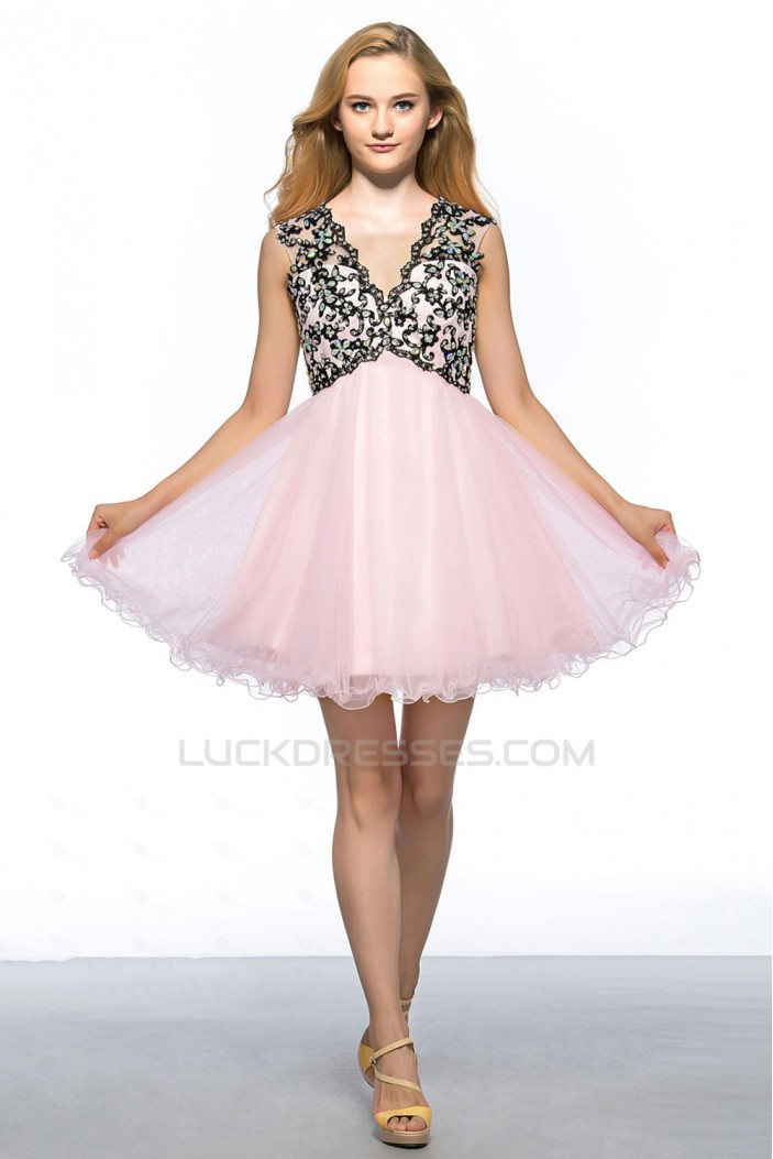 A-Line V-Neck Short Pink Applique Beaded Prom Evening Cocktail Homecoming Party Dresses ED010642