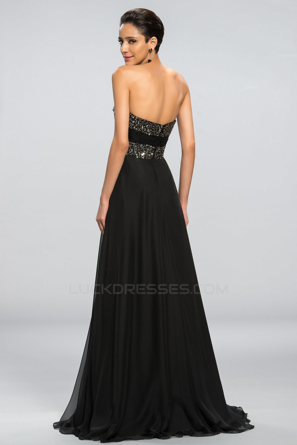 Sweetheart Beaded Long Black Chiffon Prom Evening Formal Party
