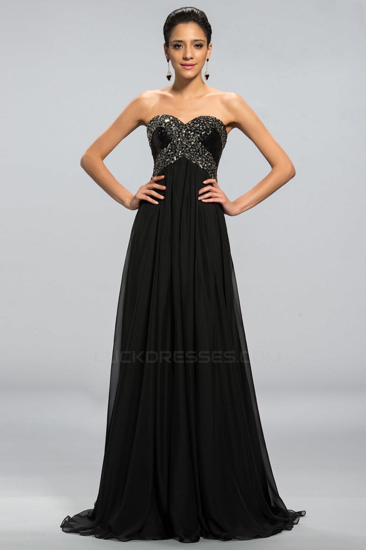 Empire Sweetheart Beaded Long Black Chiffon Prom Evening Formal ...