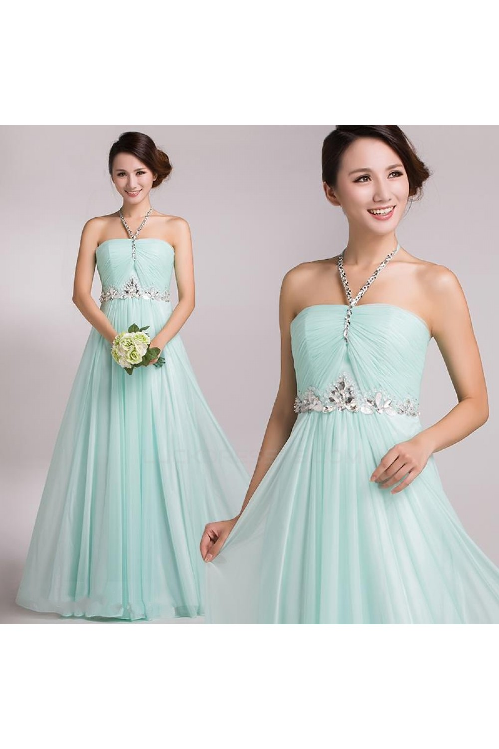 A-Line Halter Beaded Long Chiffon Prom Evening Formal Party Dresses ...