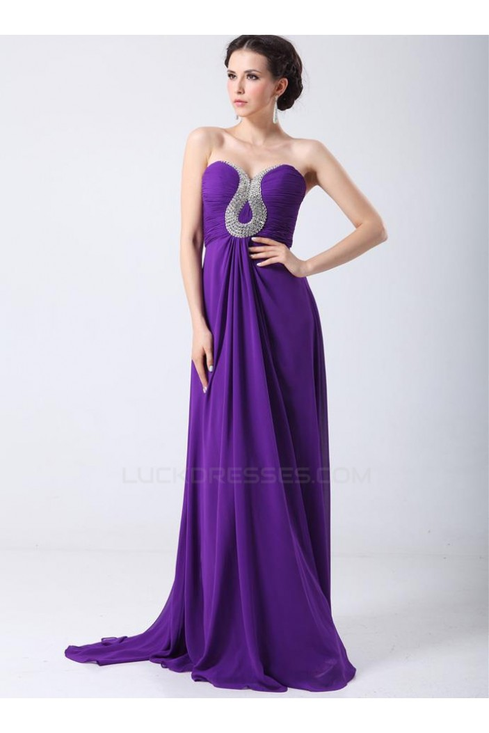 Sheath/Column Sweetheart Beaded Long Purple Chiffon Prom Evening Formal Party Dresses ED010700