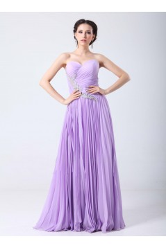 A-Line Sweetheart Pleated Beaded Long Chiffon Prom Evening Formal Party Dresses ED010707