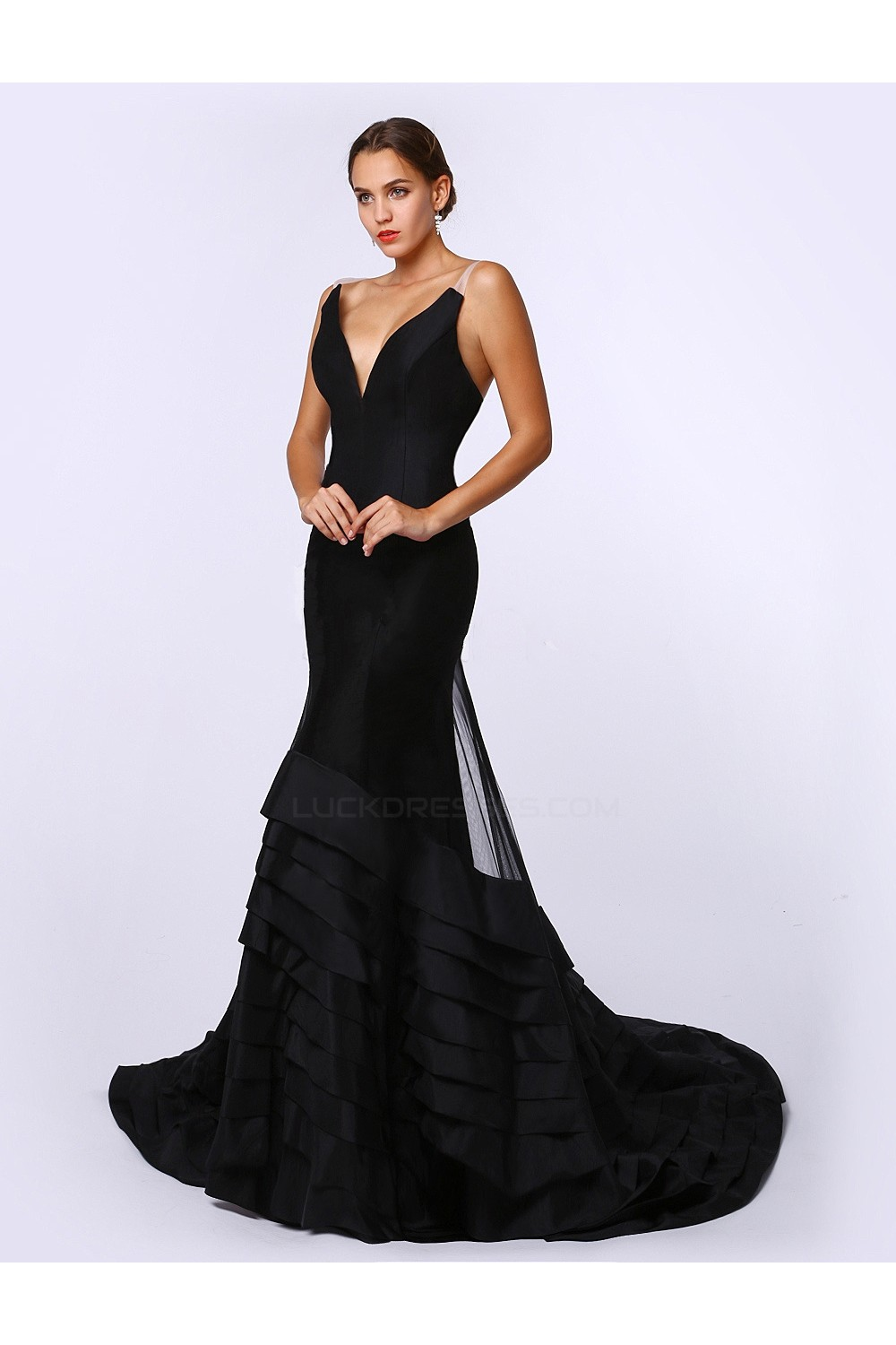 Trumpet Mermaid Long Black Prom Evening Formal Party