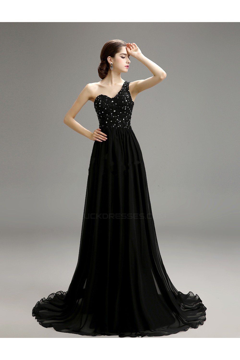 32a1809bf7a A-Line One-Shoulder Beaded Long Black Chiffon Prom Evening ...