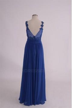 A-Line Long Blue Sequin Applique Chiffon Prom Evening Formal Party Dresses ED010759