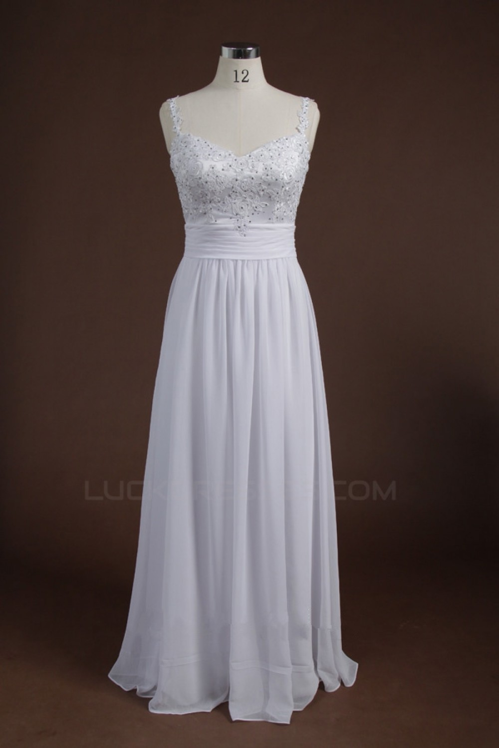 A-Line Long White Sequin Applique Chiffon Prom Evening Formal Party ...
