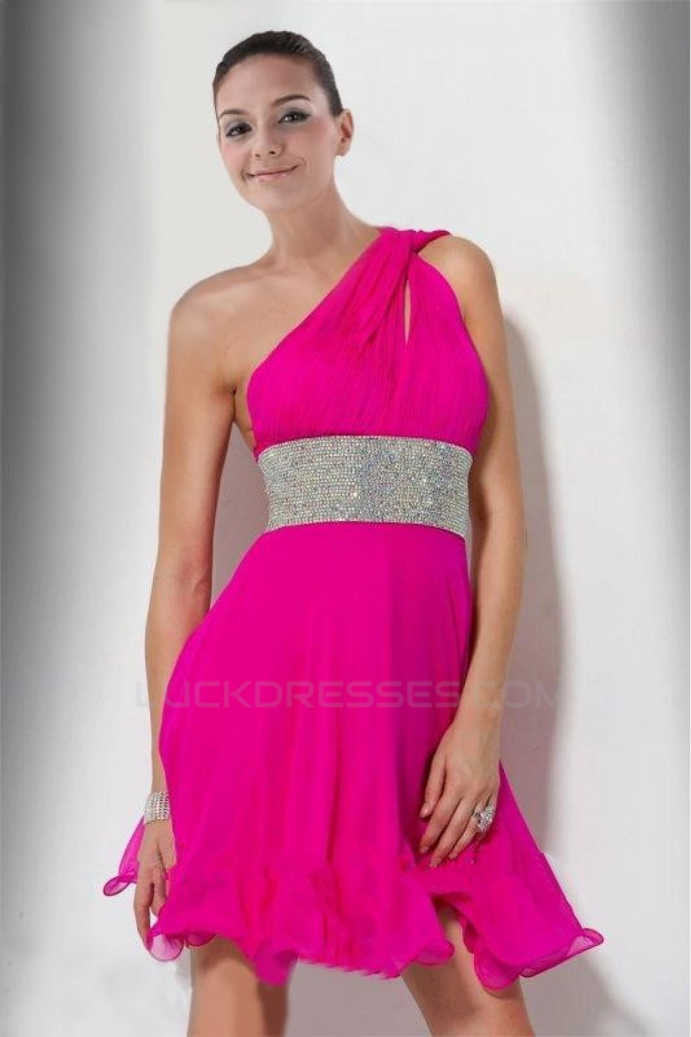 A-Line One-Shoulder Short Pink Cocktail Homecoming Prom Evening ...