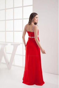 Sheath Beaded Straps Split-Front Long Red Chiffon Prom Evening Dresses ED010798