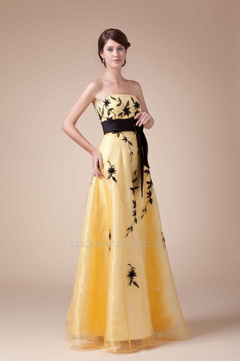 A Line Strapless Black Yellow Long Prom Evening Dresses