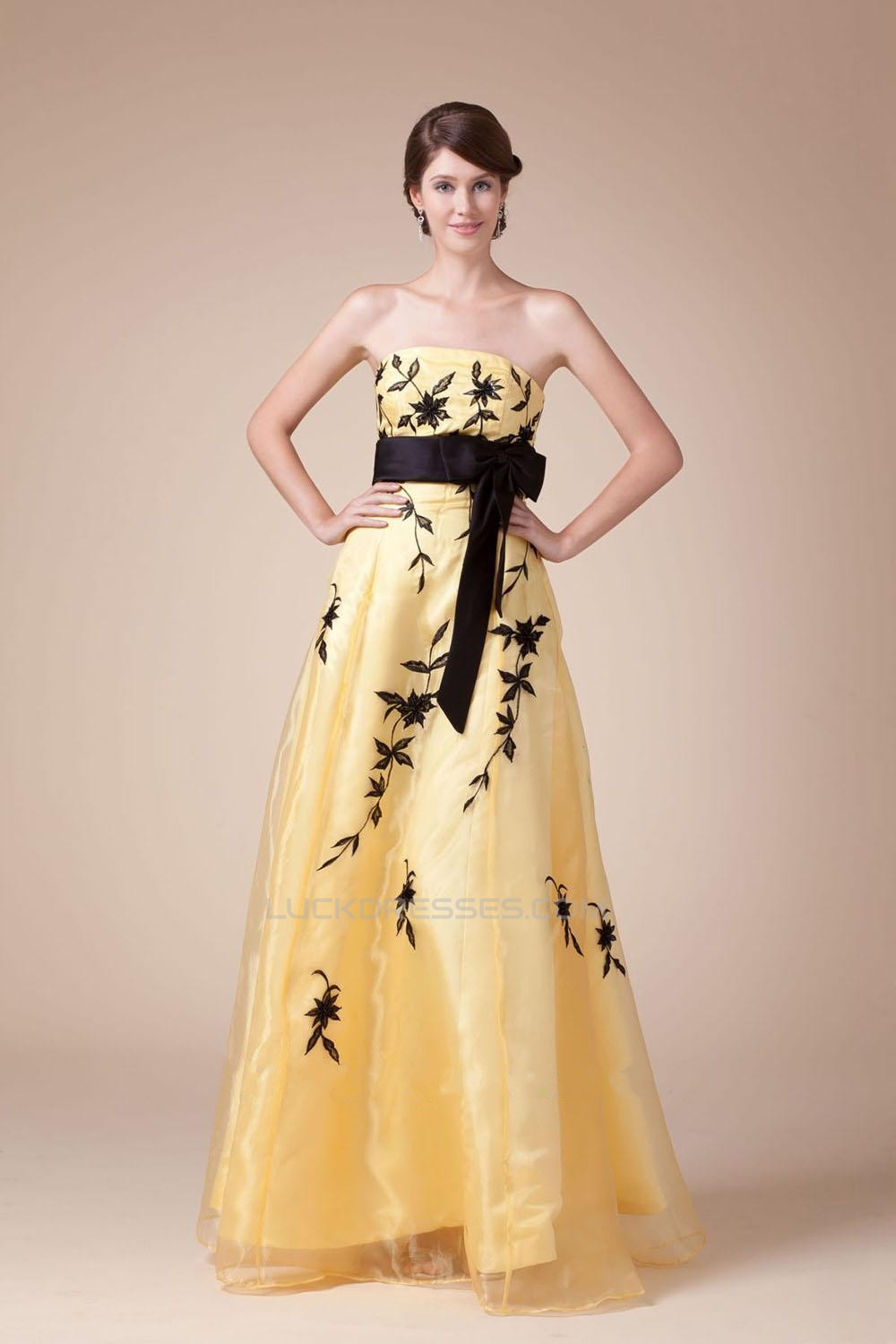 A-Line Strapless Black Yellow Long Prom Evening Dresses ED010799