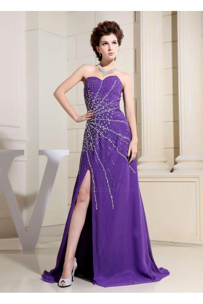 A-Line Sweetheart Beaded Long Purple Chiffon Prom Evening Dresses ED010810