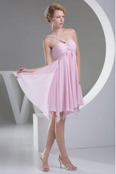 Empire One-Shoulder Short Pink Chiffon Prom Evening Dresses ED010824