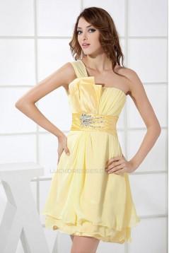 Short One-Shoulder Beaded Yellow Prom Evening Dresses Bridesmaid Dresses ED010829