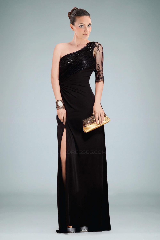 One Shoulder Sleeve Long Black Lace Prom Evening Dresses ED010834
